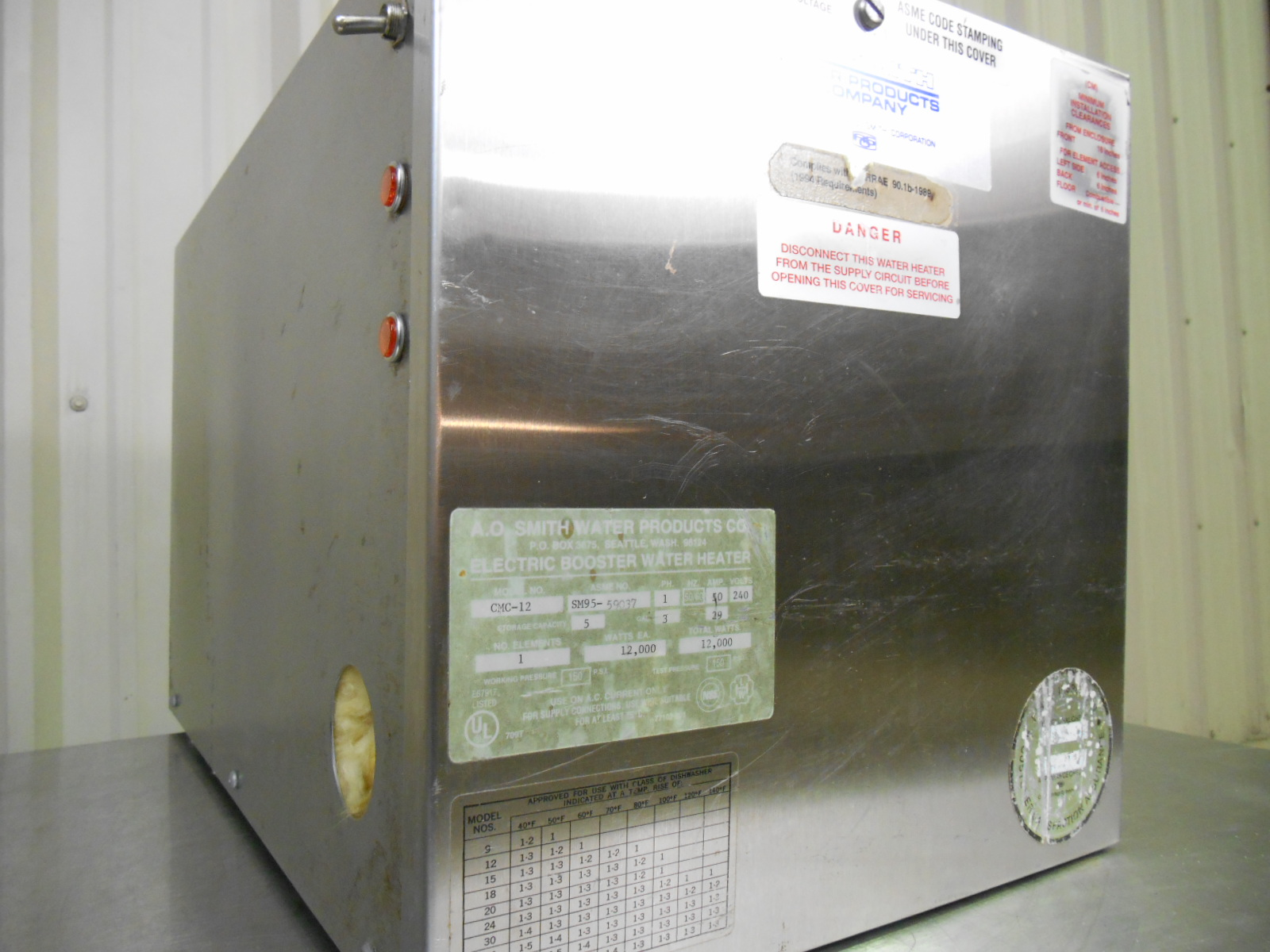 Used a o smith cmc 12 galloncommercial hot water booster for Used hot water heater