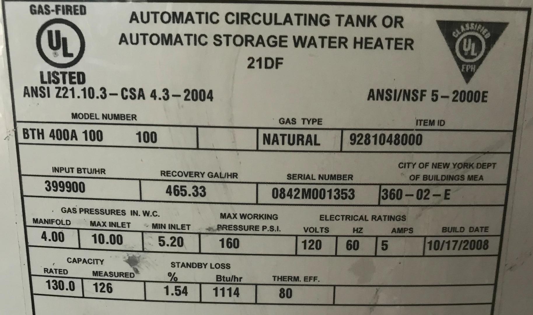 Used Ao Smith Bth 400a Cyclone Xi 119 Gallon Commercial
