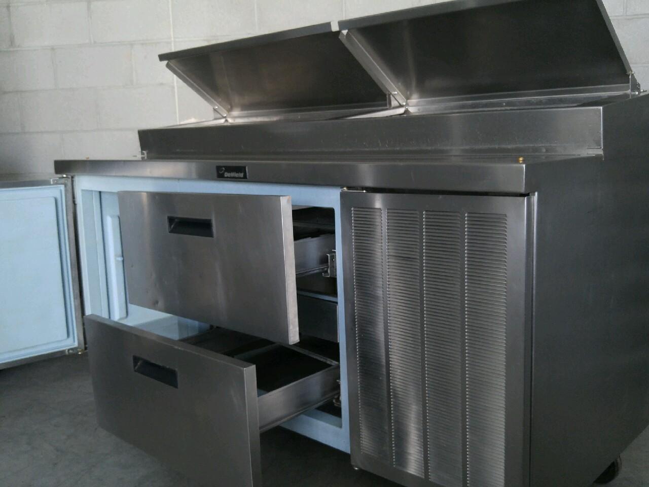 Used delfield 72 raised rail 1 door 2 drawer work pizza for Door 2 door pizza