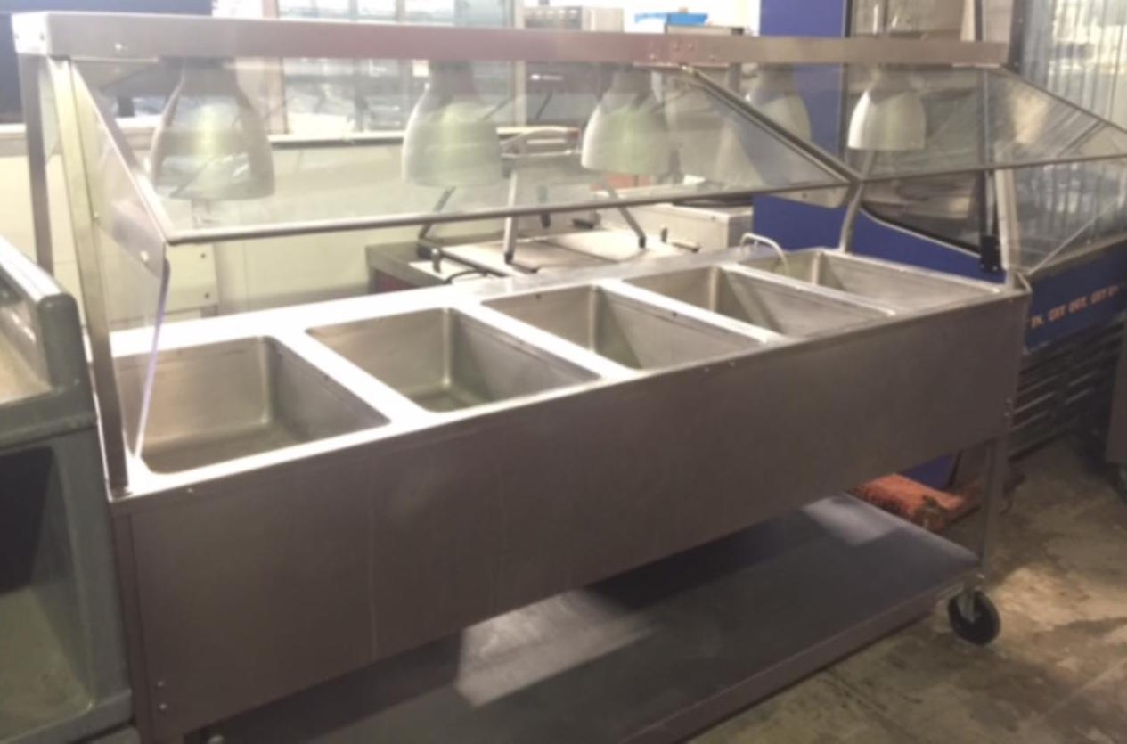 Used aerohot duke 5 well stainless steam table w warmers sneeze guard - Sneeze guard for steam table ...