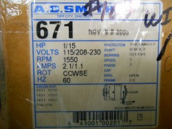 A.O. Smith 1/15 HP Frame Replacement Motor New in Box