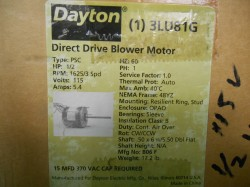 Dayton Direct Drive 3 Speed, 1/2 HP Blower Motor New in Box