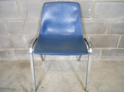 20 Blue Virco Martest Linkable / Stackable Church Event Chairs Used