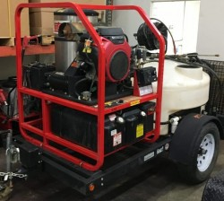 Hotsy 1270SSG Gas/Diesel 4000PSI Hot Pressure Washer Trailer Used, Tested Good