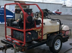 Hotsy 1285SSG Gas/Diesel 4500PSI Hot Pressure Washer Trailer Used, Tested Good