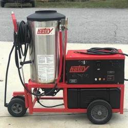 Hotsy 1410SS 4GPM@3000PSI Hot Pressure Washer & Reel Used, Tested Good