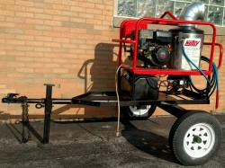 Hotsy 965SS Hot Gas/Diesel 3000PSI Pressure Washer & Trailer Used, Tested Good